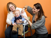 a baby getting a hearing screening
